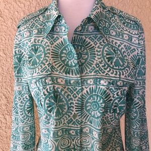 Tory Burch Long Sleeve Blouse Green/Ivory size 8